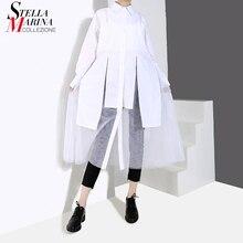 新 2020 女性秋ソリッドホワイトシャツドレス長袖膝丈メッシュステッチ女性カジュアルミディドレスvestidos 4845