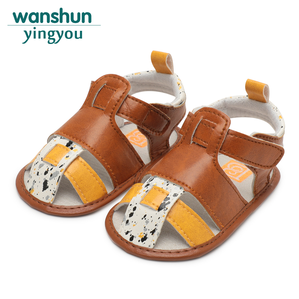 Baby boy girl newborn shoes for bebe mix color summer crib infant PU soft sole hook loop cute first steps Anti-slip Prewalker