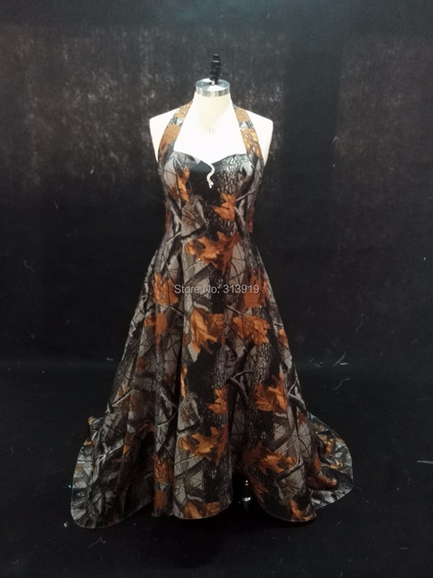 free shipping 2017 new style mossy oak halter camo wedding dresses ...