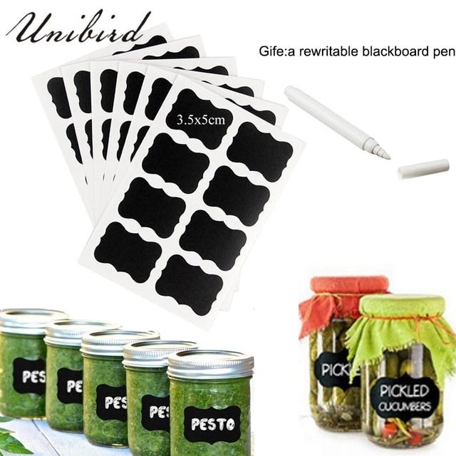 Unibird 32pcs/Set Blackboard Labels with White Liquid Chalk Marker Kitchen Spice Jars Bottle Organizer Stickers Rewritable Pen