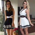 Sexy Women Casual Summer Party Sleeveless Lace Short Mini Dress Hollow out waist Dresses Wholesale