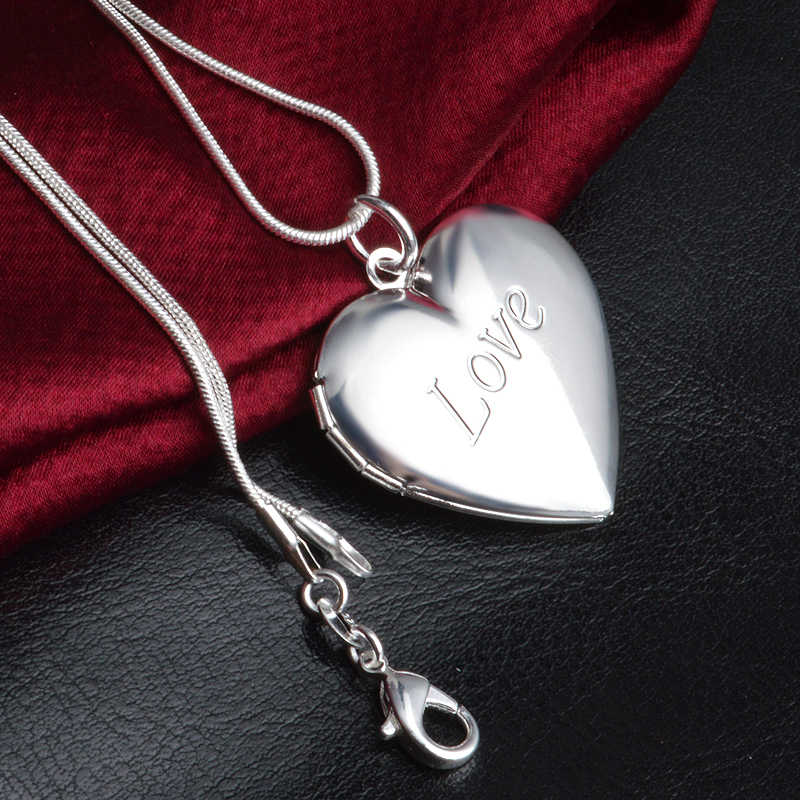 Best Selling Romantic Locket 925 Sterling Silver Heart Love Pendant Necklaces For Women Snake Chain Wedding Necklaces