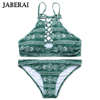 JABERAI High Neck Bikini Set Swimwear Women Swimsuit Brazilian Bikini Set Green Print 2017 Halter Top