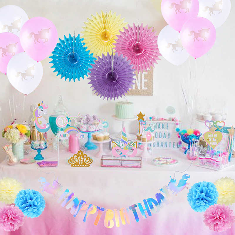 Unicorn Birthday Party Decoration Supplies Latex Balloons Theme Paper Fan Pom Flower For Kids