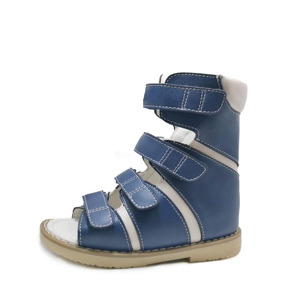 Little Toddler Boys Cool High-top Corrective Orthopedic Outwear Shoes Blue Genuine Leather Sandals for Spring SummerLittle Toddler Boys Cool High-top Corrective Orthopedic Outwear Shoes Blue Genuine Leather Sandals for Spring Summer