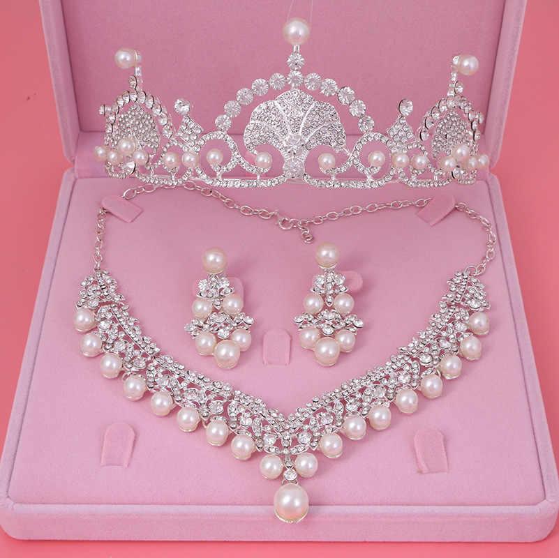 Fashion Silver Ivory Pearl Bridal Crown Tiaras Chokers Necklaces Earrings Tiara Rhinestone Crystal Pearl Wedding Jewelry Sets