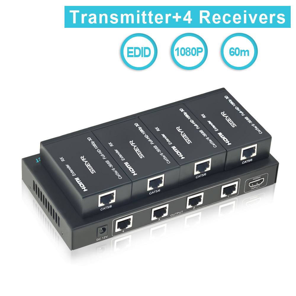 SGEYR 4 Voies Répartiteur HDMI Extender 1X4 196ft 1 à 4 Répartiteur HDMI Extender 1 en 4, extendeur HDMI 60 m sur CAT Signal 1080 p, 3D