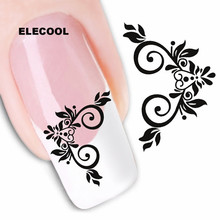 ELECOOL Colorful 10 Mixed style Flower Nail Art Sticker Decals Tips DIY Nail Art Decorations Tool Hot Sale
