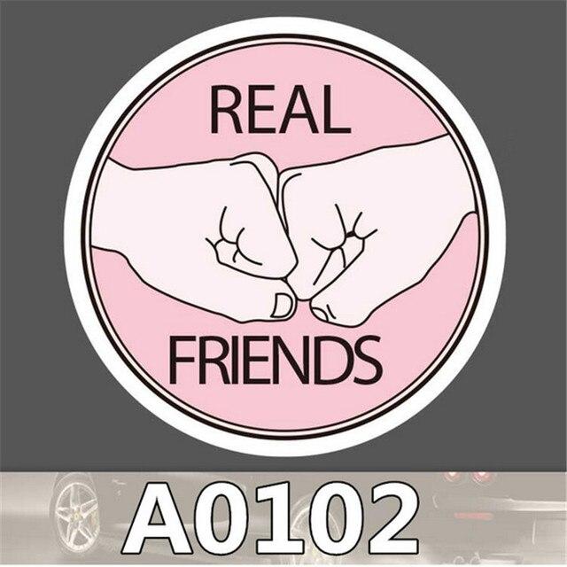 Real Friend Cute Pink Circular Sticker Fist Bump Denbo Sticker In