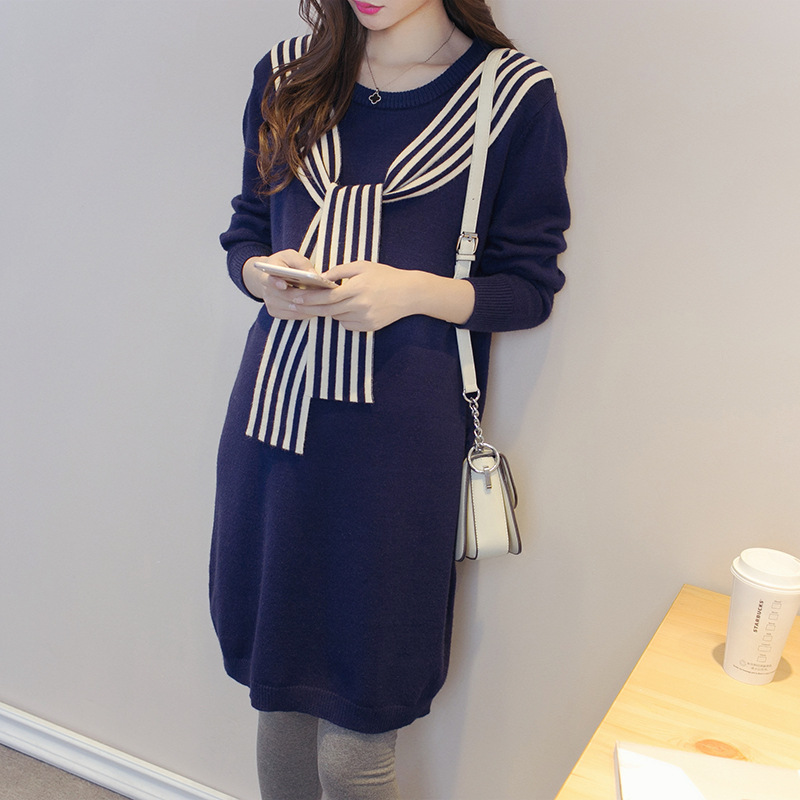 Maternity Women Autumn Winter Long Sleeve Knee Length Knit Sweater Dress New Moms Fashion Shoulder Ribbons Mid-long SweatersMaternity Women Autumn Winter Long Sleeve Knee Length Knit Sweater Dress New Moms Fashion Shoulder Ribbons Mid-long Sweaters