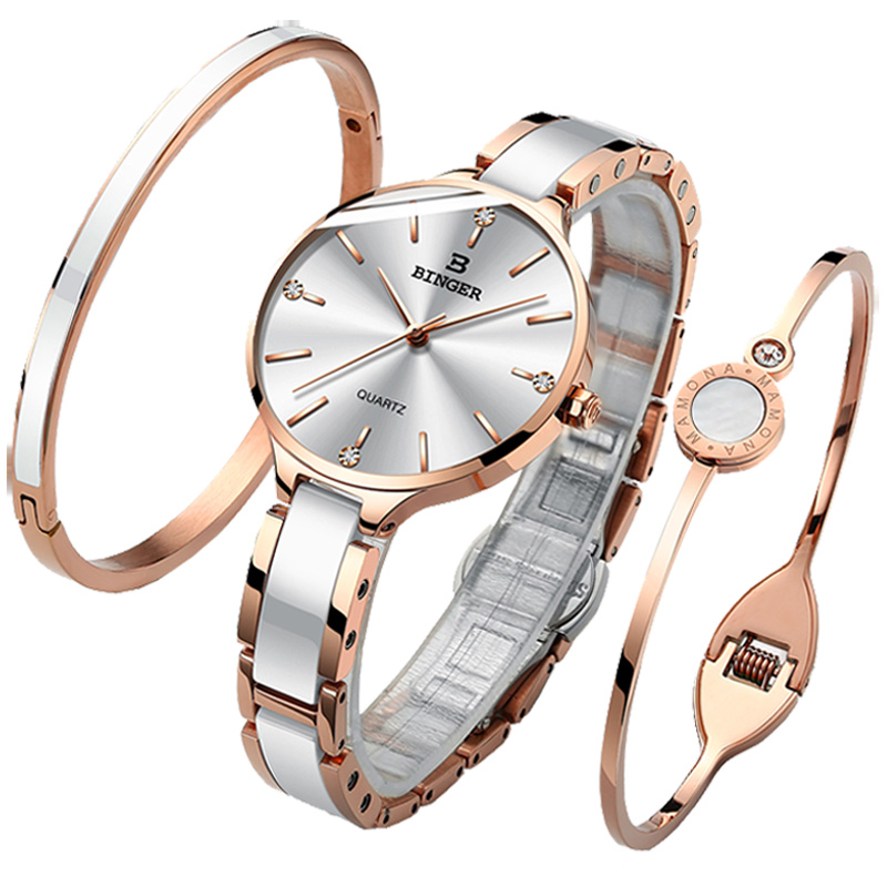 Image 3 - Switzerland BINGER Luxury Women Watch Brand Crystal Fashion Bracelet Watches Ladies Women wrist Watches Relogio Feminino B 11855-in Women's Watches from Watches