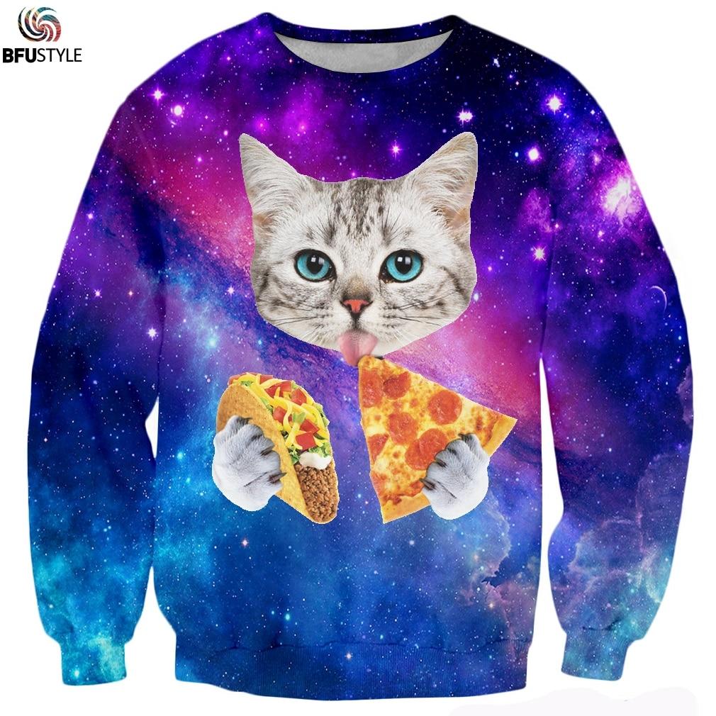 Men Women Hoodies 3D Print Animals Cat Pizza Space Galaxy Sweatshirt Sudadera Brand Clothing Casual Long