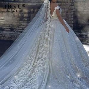 Image 2 - Luxury Sequins Lace Wedding Dresses 2020 3D Flower Ivory Shiny Beading Ball Gown Bridal Gowns Dress Dubai Vestidos De Novia