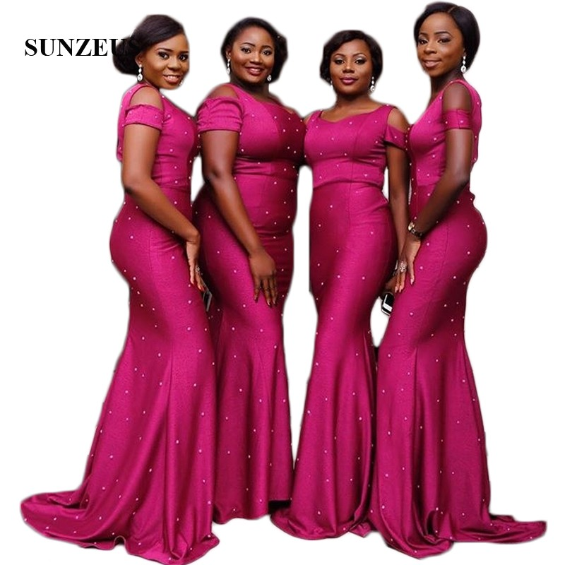 Sheath African Wedding Party Dresses Fuchsia Long Bridesmaid 2018 Sweetheart Tank Short Sleeve Prom Gowns Sbd78