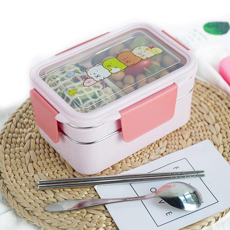 Tuuth 만화 점심 상자 스테인레스 스틸 더블 레이어 음식 컨테이너 휴대용 어린이 피크닉 학교 도시락 상자