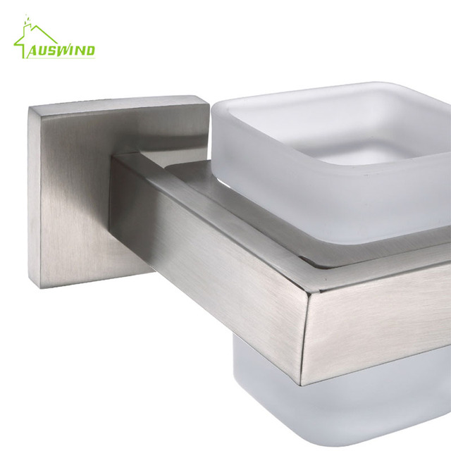 AUSWIND Solid Square Silver Toothbrush Holder Stainless Steel - Brushed silver bathroom accessories
