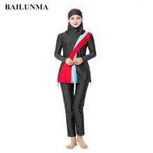 Women Arabian Muslim Islamic Swimwear 3 Pieces Separate Hijab Conservative Swimsuit Hui Nationality Burkinis Plus Size