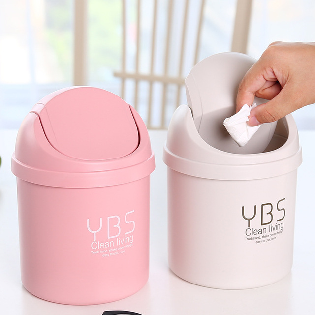 Creative Office Trash Can Living Room Kitchen Plastic Paper Basket Rubbish  Waste Trash Bin Mini Dustbin