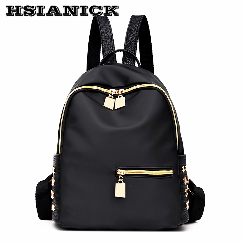 Best buy 2017 woman new design fashion black backpack Oxford cloth casual  shoulder bag female Mummy book bag soft leather school backpack online cheap b56c3fd372e3f