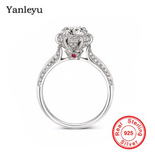 Yanleyu Hot Sale Queen Crown Ring Pure 925 Sterling Silver Jewelry 7.5MM Cubic Zirconia Wedding Rings for Women Gift PR031(China)