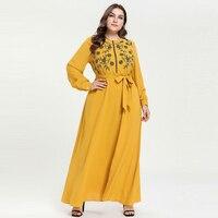 2019 Spring New Floral Embroidery Maxi Long Dress Fashion Long Sleeve Islamic Dress Muslim Abaya Plus Size Women Clothing 4XL