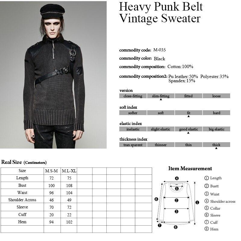 PUNK RAVE Heavy Punk estilo Otoño Invierno tachonado suéter de cuero negro hombres Steampunk buen ajuste militar Retro - 6