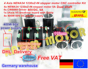 EU free VAT 4 Axis Nema34 Stepper Motor 1230Oz-in/5A Dual shaft & 6A/80VDC 256 Microstep driver Kit for CNC Milling Machine - DISCOUNT ITEM  10% OFF All Category
