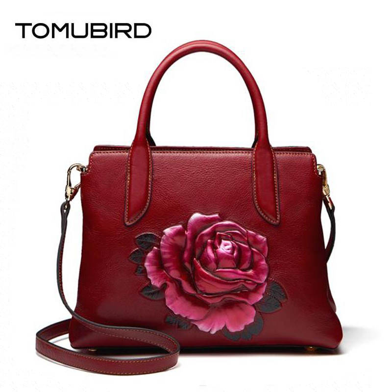 TOMUBIRD 2018 new superior Cowhide Three-dimensional fashion leather art bag luxury women genuine leather bag designer handbags 2018 new superior cowhide leather classic designer hand embossing top leather tote women handbags genuine leather bag medium bag