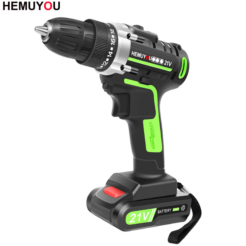 21V Household Cordless Electric Screwdriver Rechargeable Lithium Battery Mini Electric Drill Handheld Electric Tools + Gifts