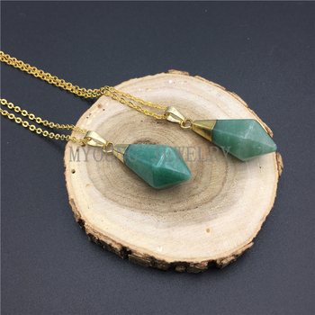 MY0926 Cone Aventurine Pendulum Pendant Point Gold Electroplated Chain Necklace