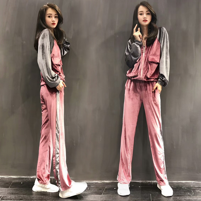 high quality Autumn Casual Women Velvet Sets Side Stripes Double Pocket Zipper Jacket and Elastic Wasit Long Pants Blue Suits 2016 autumn winter women s casual fashion not as long as before and after long section side seam zipper bags seven snowflakes