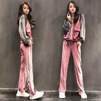 high quality Autumn Casual Women Velvet Sets Side Stripes Double Pocket Zipper Jacket and Elastic Wasit Long Pants Blue Suits
