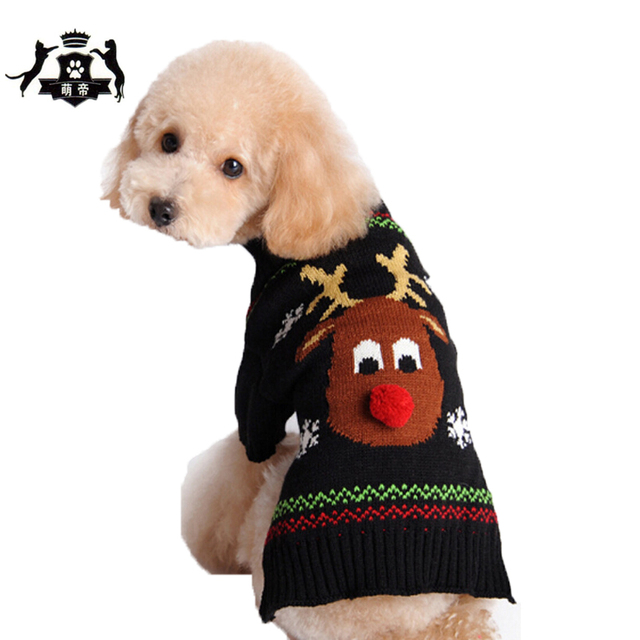 Elk Pattern Warm Knitting Crochet Dog Sweater Christmas Pet Clothes