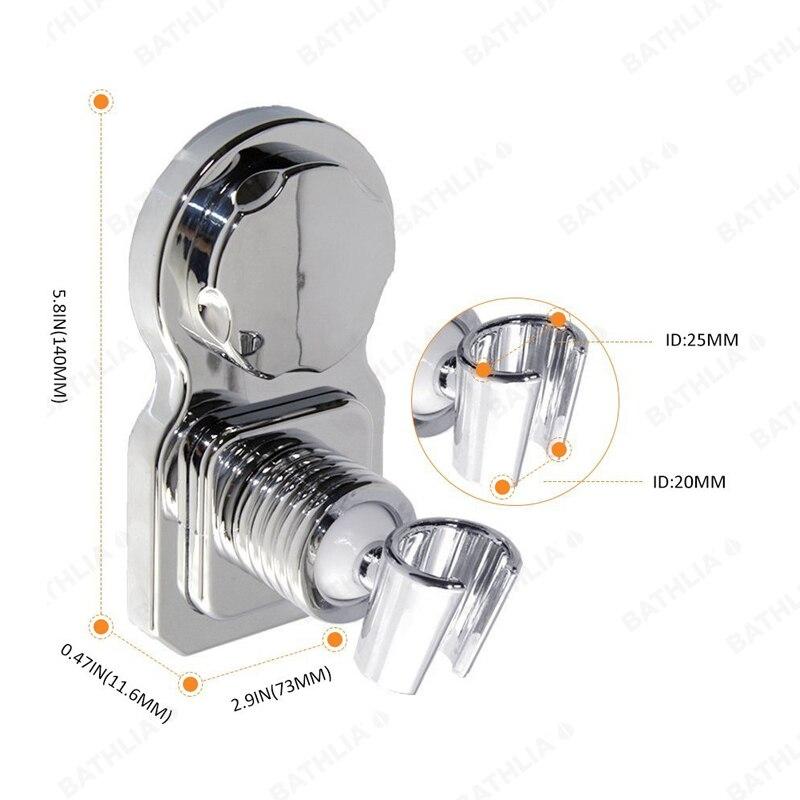 Купить с кэшбэком Movable Bathroom Shower Head Holder  ABS Plastic Suction Absorb Shower head Holder Chrome Plated wall mounted showerhead holder