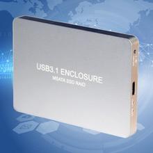 USB 3.1 Tipo C A 2 Puertos Msata SSD Raid Caja caso Caja Externa de Disco Duro de 10 GB LR31-1352S Para Univesal computadoras