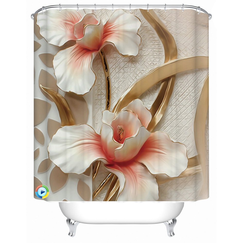 Custom polyester waterproof shower curtain bathroom fabric - Bathroom shower curtains and accessories ...