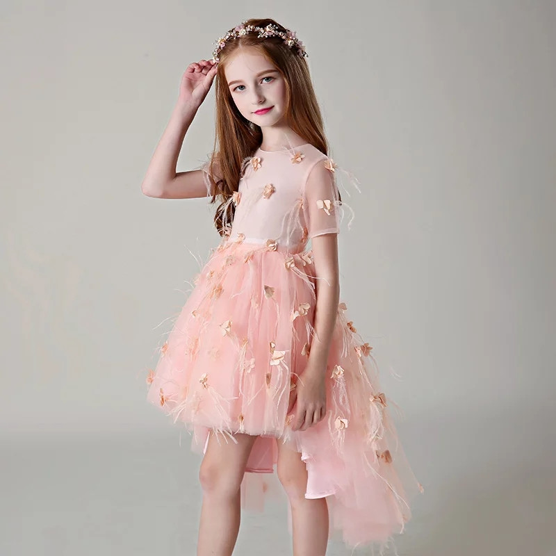 Summer New3-14 Years Girls Children Dress for Birthday Wedding Party Flowers Princess Girls Dresses Summer Kids Tailing dresses new summer dress sequined flowers bow kids dresses for girls clothes solid birthday party robe princess dress wedding vestido
