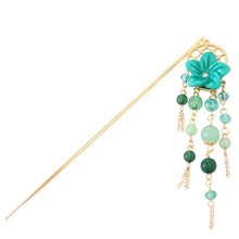 SANSUMMER 2019 New Style Fashionable Archaic Hair Ornament Mint Green Cherry Blossom Fresh Long Fringed Alloy Girl Hairpin 6723
