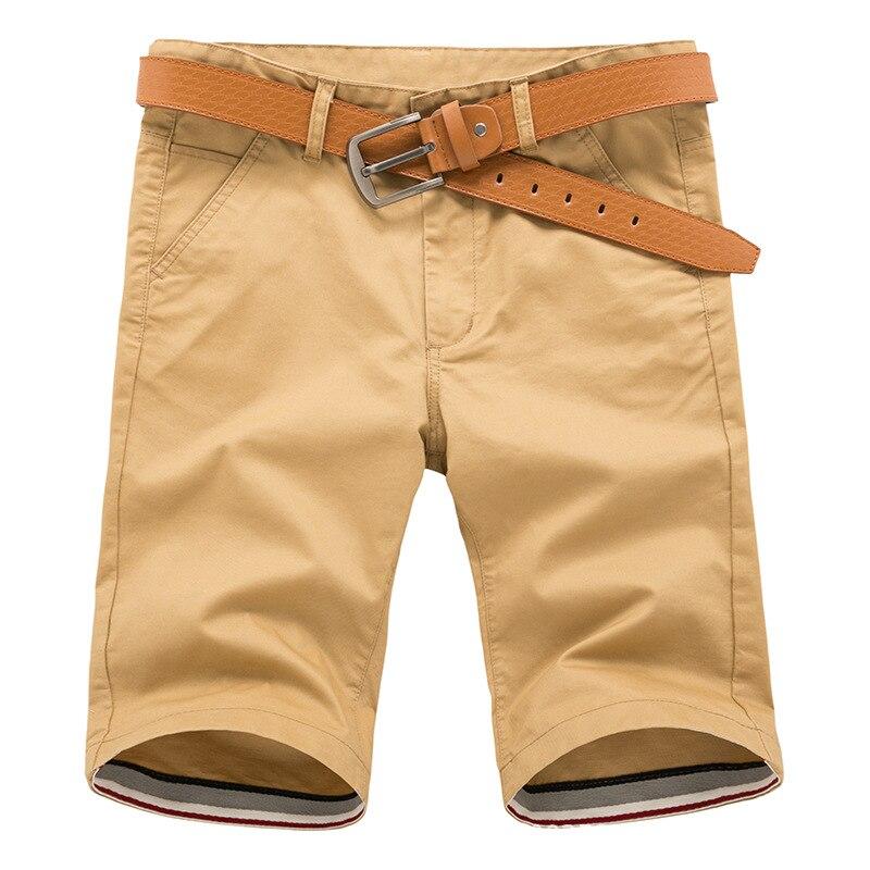 Men Shorts Straight Knee Length Zipper Shorts Plus Size 2017 Brand Fashion Casual Bermuda Masculina Black Khaki Army green