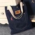 Nuevas bolsas de mensajero de las mujeres bolso de marca famosa denim jeans señora bolsa de hombro de la vendimia grandes bolsas de la compra de asas Casual