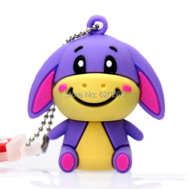 Cartoon Ass usb flash drive 64gb, True 2GB/4GB/8GB/16GB/32GB silicon purple donkey cute usb flash drive cartoon animal pen drive