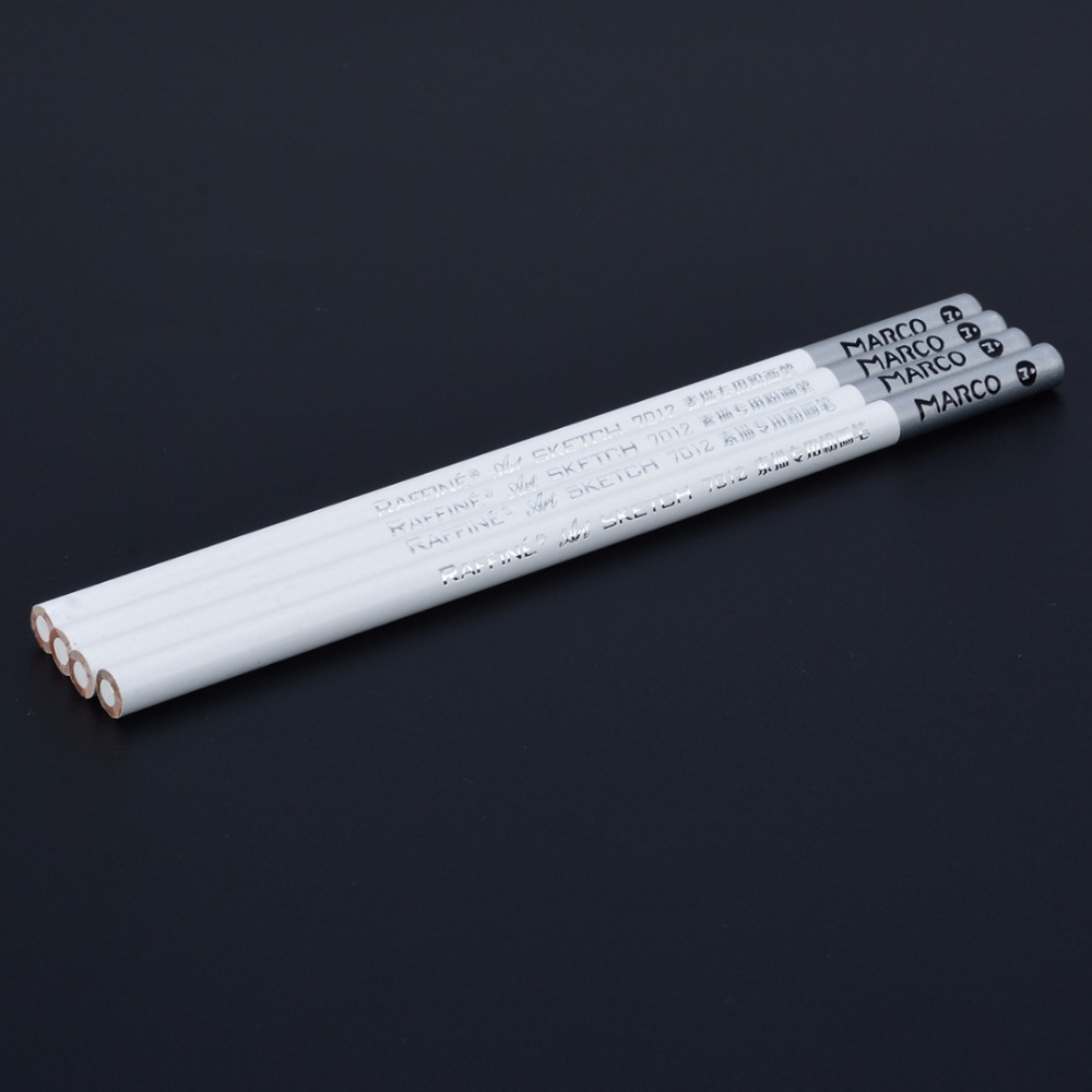 4 Pieces Sketch Pencil White Pencil White Pastel Special Charcoal Drawing Sketch Pencil Non-toxic Ar