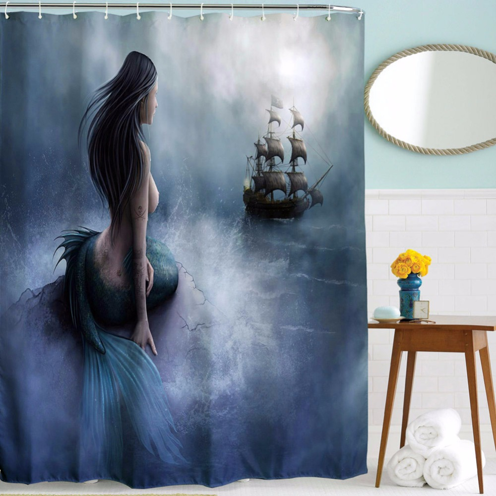 Mermaid shower curtains - Sailboat Pattern Shower Curtain Mildew Mermaid Waterproof Polyester Bathroom Curtains Bath Bathing Sheer Washable Shower Curtain