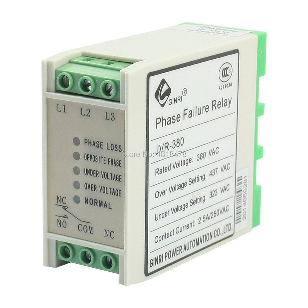 JVR-380 AC 380V Phase Sequence and Failure Monitoring Protective Relay overvoltage and undervoltage broken phase sequence protector for liquid crystal display 2hrv2 s three phase ac relay monitor