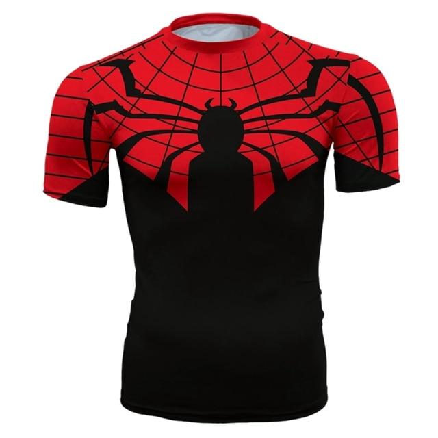 2017 Impressão 3D Spiderman T Camisa Dos Homens de Fitness Calças Justas  Moda Short Slim T 75581f8ae3dcf