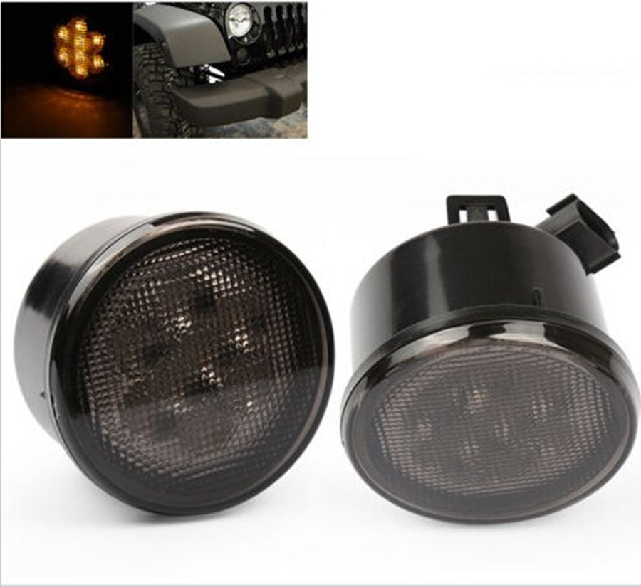 2PCS/Pair Front Amber LED Turn Parking light DRL Lamp for 2007 - 2016 Jeep Wrangler 2/4 Door, Unlimited, Rubicon, Sahara taillight light guard cover for 2007 2017 jeep wrangler accessories jk unlimited pair
