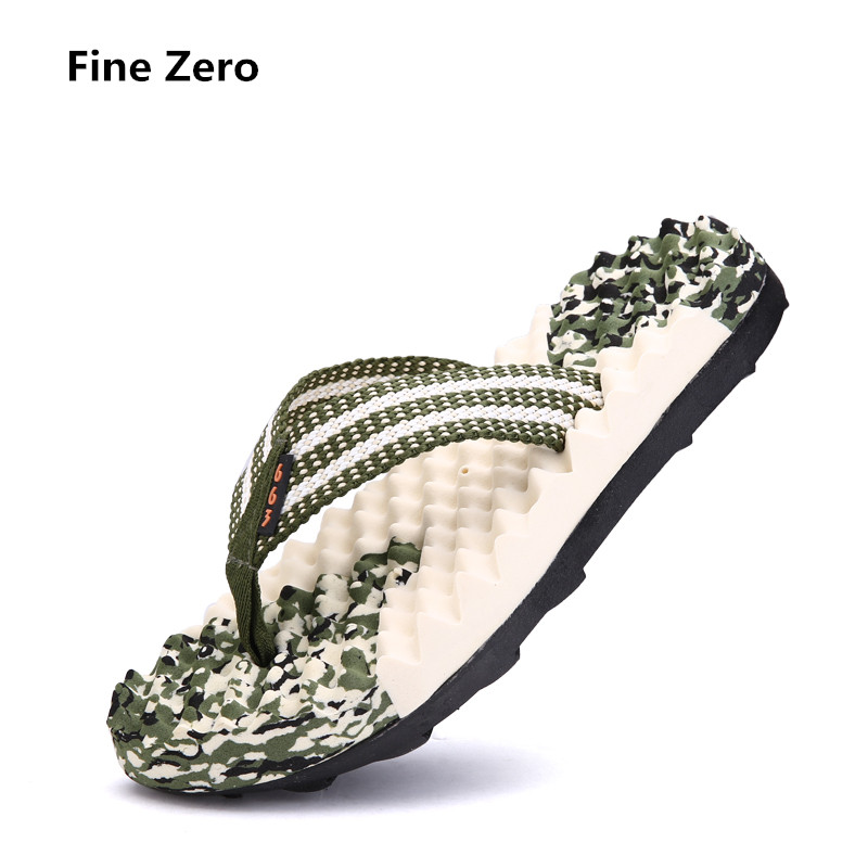 Fine Zero Luxury massage Brand Men Casual flip flop Sandals Famous Designer Comfortable Men's camouflage Summer Beach Shoes goal zero flip 10