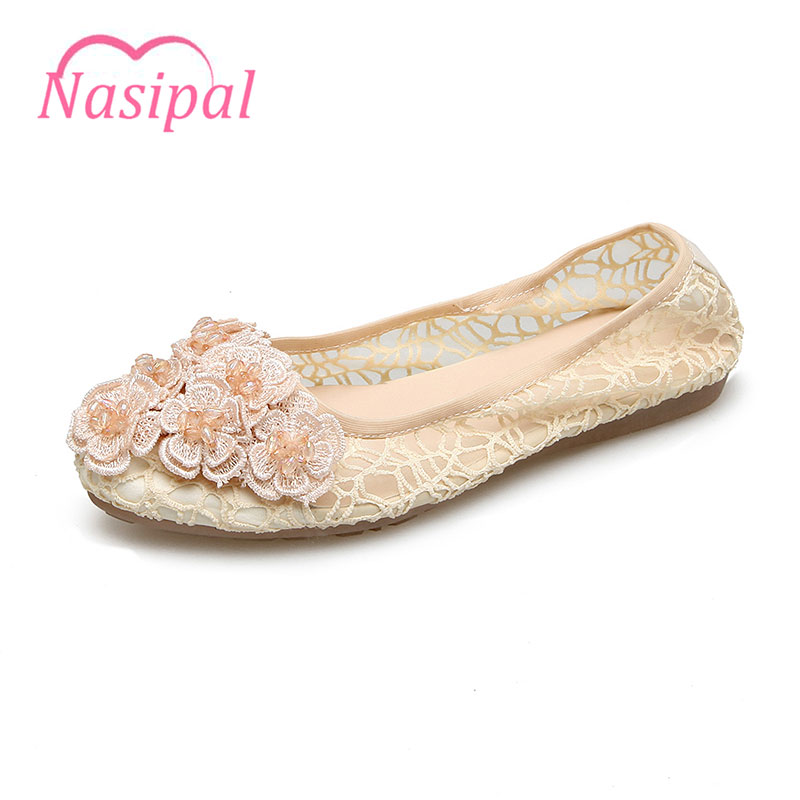 Nasipal Women Crystal Ballet Flats Size 33-41 2017 Spring Lace Flower Comfort Cloth Pointed Toe Slip-On Flat Shoes Woman C051 2017 new fashion flats woman spring summer women shoes top quality pointed toe women flats suede comfort flat plus size 40