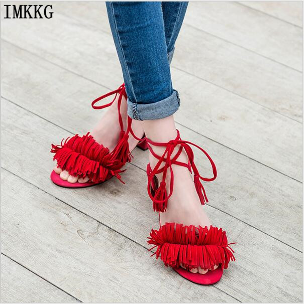 IMKKG אופנה נשים עקבים כיכר Med ציצית Sandals2016 קרסול לעטוף עיצוב חדש באיכות גבוהה נשים קיץ נעלי סנדל K243