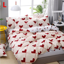 Puredown Classic bedding set King queen heart flower bed linen 4pcs duvet cover Pastoral sheet AB side